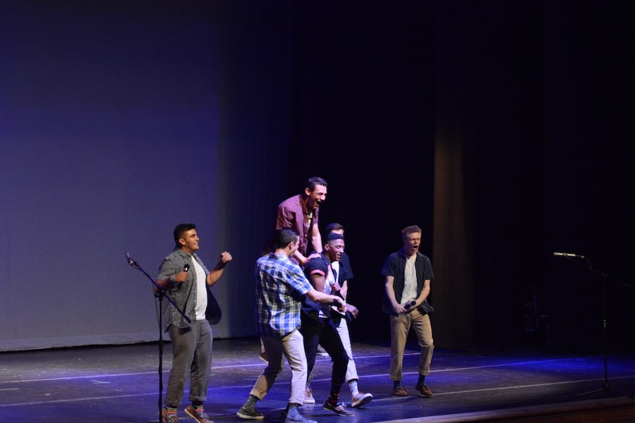 Seniors Nick Awada, Joshua Cherion, Ben Lawrence, Tom Robertson, Ben Trotter, and Anish Venkatesh perform What Makes You Beautiful from One Direction.