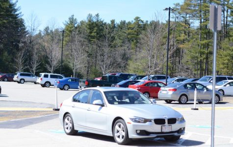 Seniors' cars parked in the senior parking lot at Westford Academy.