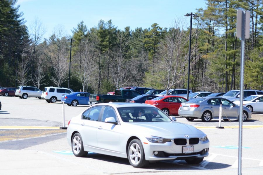 Seniors%27+cars+parked+in+the+senior+parking+lot+at+Westford+Academy.