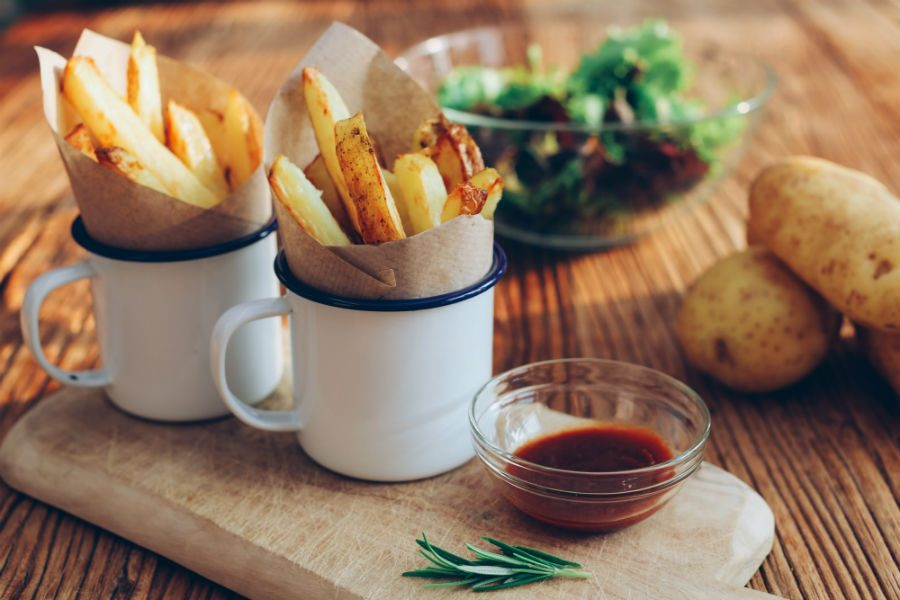 French fries are great and all, but on a night where you're binging and not paying attention to the amount of junk going in your mouth, consider potato wedges as a healthier, yet delicious alternative. Get the recipe here.