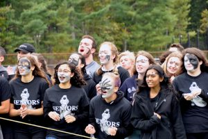 Seniors adorning black and silver face paint at the 2019 Spirit Rally. The black face paint has come under question in our community.