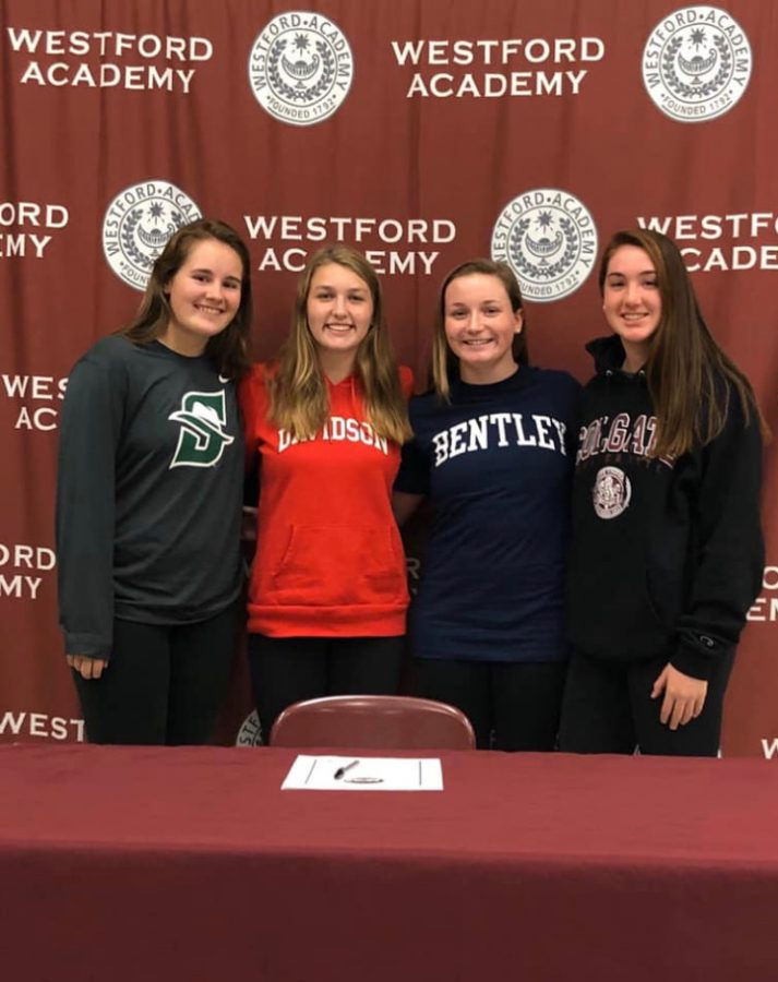 WA+seniors+Kara+Mammola%2C+Brooke+Ditcham%2C+Emily+Blatt+and+Ally+Giovino+pose+for+a+photo+after+they+signed+their+National+Letter+of+Intent+to+their+respected+colleges.+