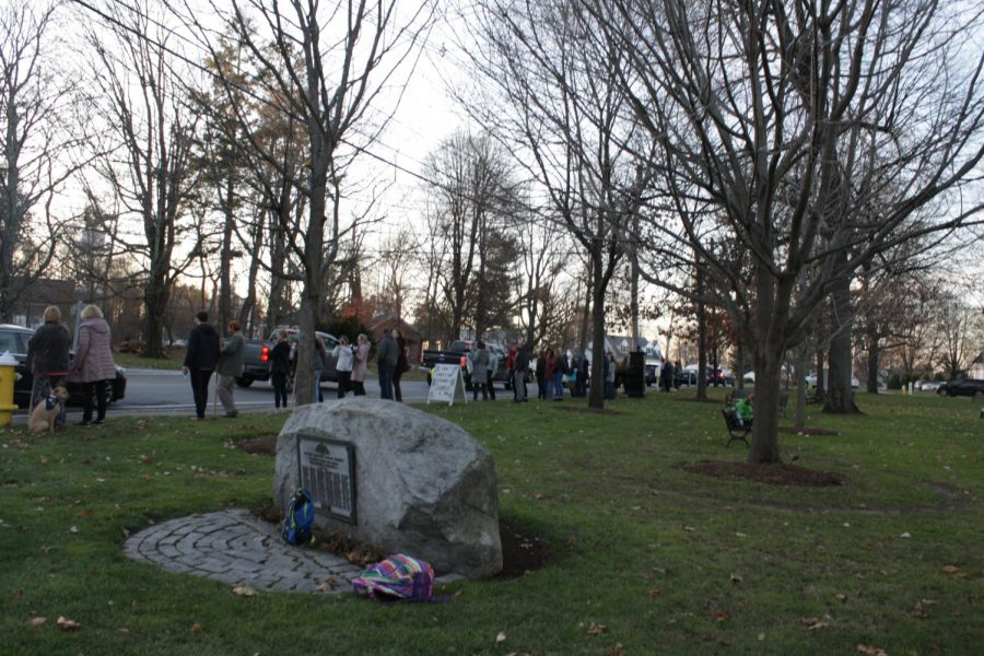 Westford public school's teachers gather in the town common to spread awareness about the school budget cuts.