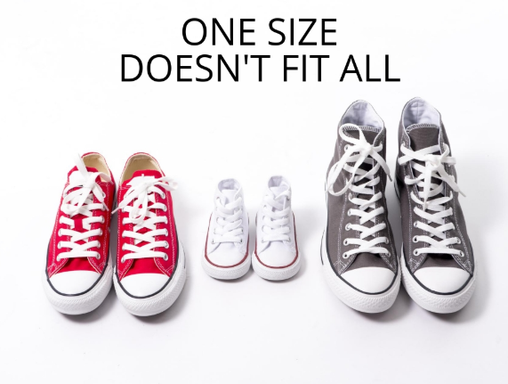 Shoes demonstrate how people are all different sizes.
