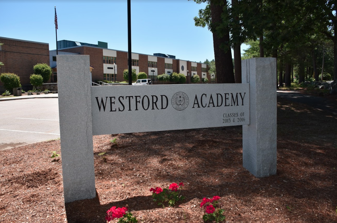 Stone sign located outside of Westford Academy