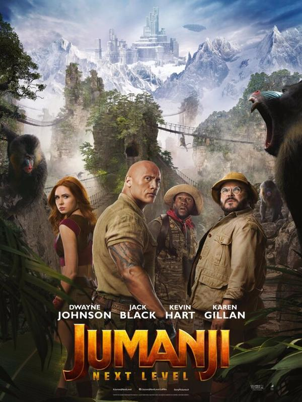 Jumanji's movie poster includes Dwayne Johnson, Karen Gillan, Kevin Hart, and Jack Black.