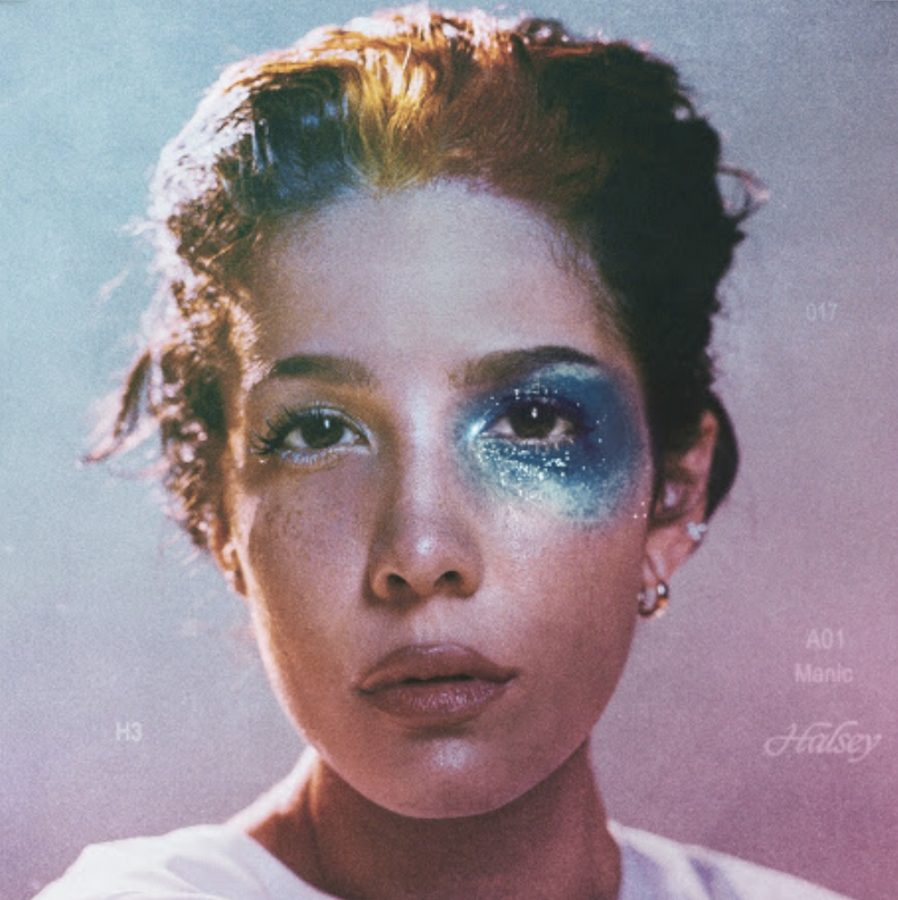 Halsey's album cover shows a close up painting of her face with many different colors throughout the cover.