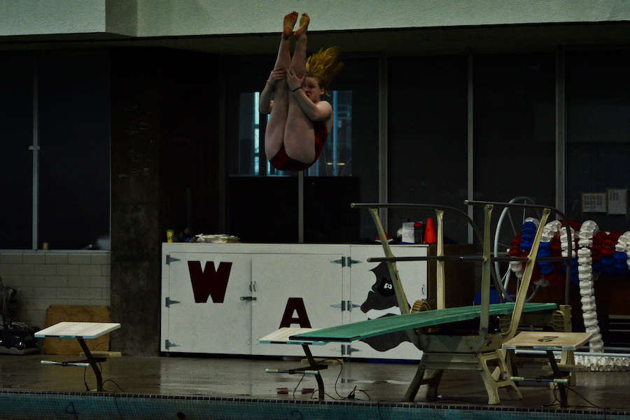 A+Tyngsborough+diver+does+a+pike+off+the+springboard.