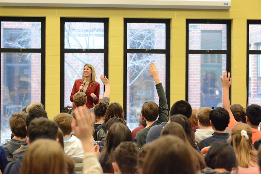 Representative Lori Trahan answers questions from students at Blanchard Middle School.