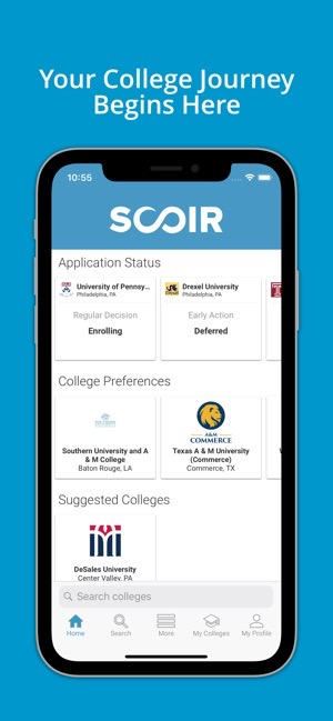 Screen shot of the Scoir app.