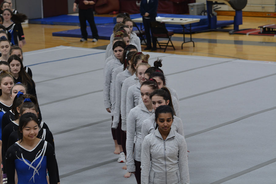WA+Girls%27+Gymnastics+lines+up+in+preparation+to+begin+the+meet.