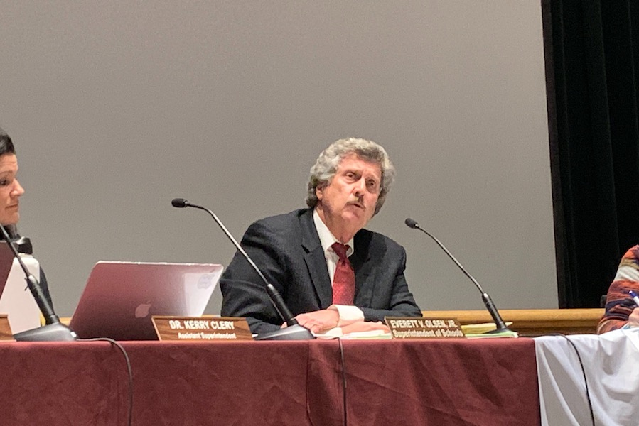 Superintendent Bill Olsen discusses the situation surrounding his contract at the School Committee Meeting on 2/10.