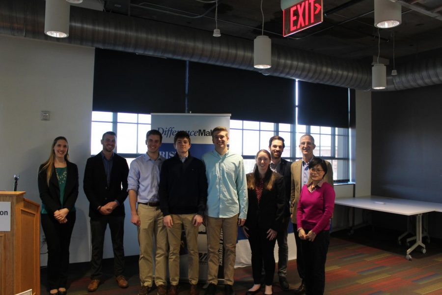 Westford Academy Entrepreneurship students pose after winning first place.