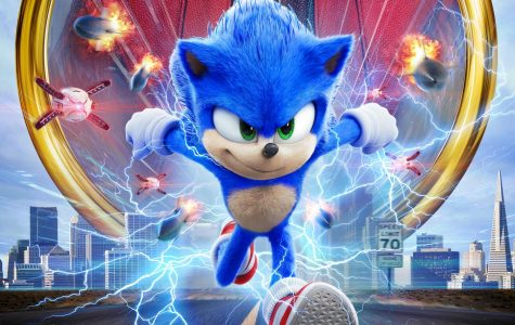Sonic the Hedgehog's movie poster showing Sonic, the main character.