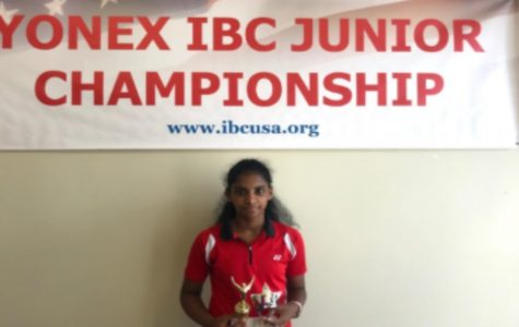 Shobha Raguraman poses for a picture after the 2018 IBC Junior Championships, and placing 1st in mixed and 2nd in doubles.
