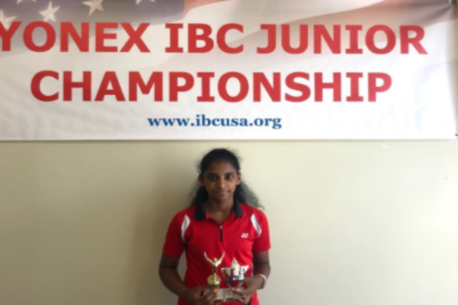 Shobha+Raguraman+poses+for+a+picture+after+the+2018+IBC+Junior+Championships%2C+and+placing+1st+in+mixed+and+2nd+in+doubles.+