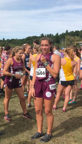 Angelina St. Paul after completing a race earlier this year for her Fall Cross Country Team that she was a captain for.