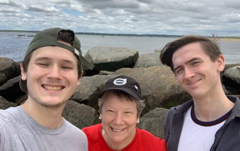 Profe Morris by the sea with her sons