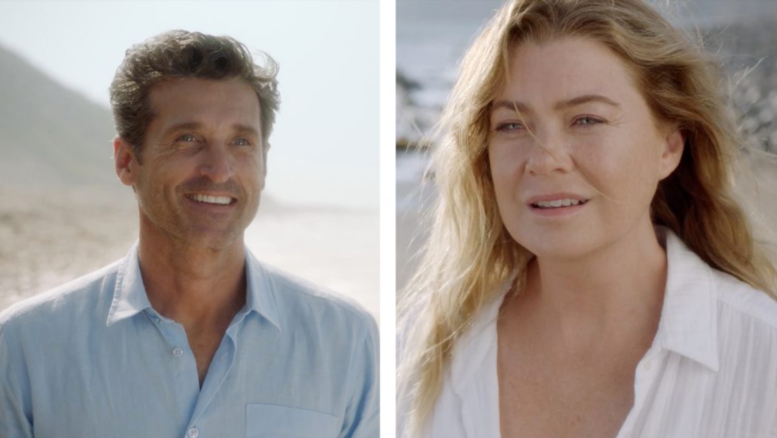 Derek+Shepherd+and+Meredith+gaze+at+each+other+from+across+the+beach.