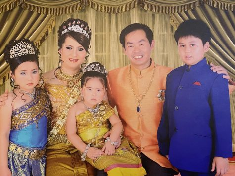 (Left to right) Tera Keang, Chandy Keang, Sophia Keang, Robert Keang, and Stephen Keang celebrates Cambodian New Year in Phnom Penh, Cambodia.