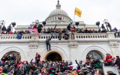 Pro-Trump rioters close in on the U.S. Capitol building on January 6, 2021.