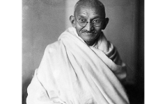 A picture of Mahatma Gandhi. The word Mahatma was not part of his name; it is a Sanskrit title meaning