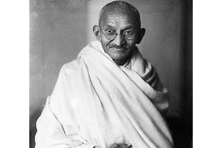 "A picture of Mahatma Gandhi. The word Mahatma was not part of his name; it is a Sanskrit title meaning ""great soul""."