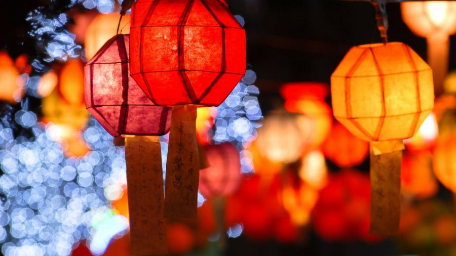 Traditional colorful lanterns used in Lunar New Year celebrations.