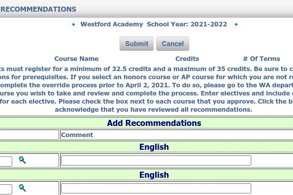 What the iStudent portal looks like before course recommendations are added.