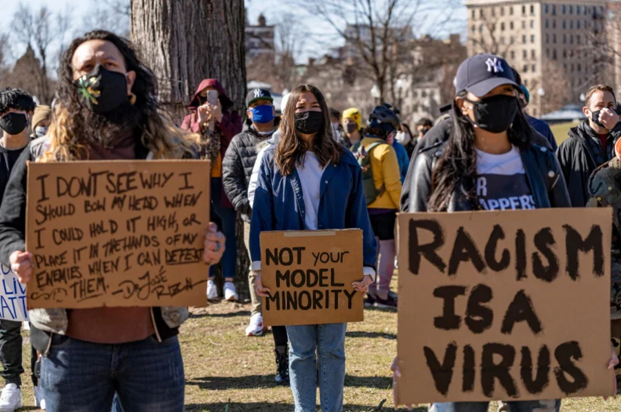 Demonstrators rally against anti-Asian violence and hate crimes in Boston on March 13.