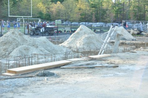 The construction of the amenities building near the Trustees Field.