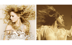 The picture on the left is the cover of the original Fearless from 2008, and the cover on the right is the one for the 2021 re-recording.