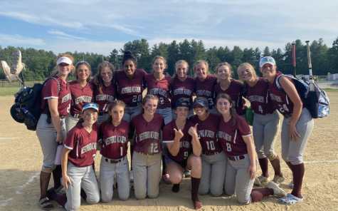WA Varsity Softball poses for a picture after winning its game against Waltham.