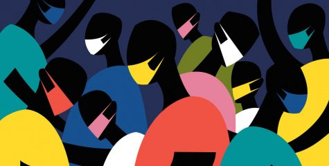 Artistic depiction of a crowd wearing multicolored masks.