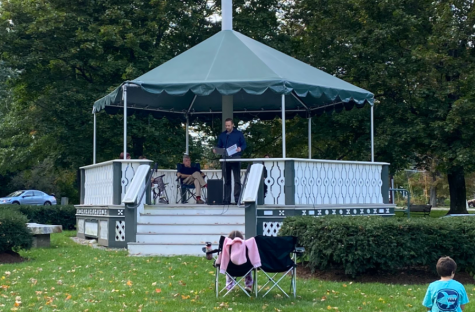 Chair of Westford School Committee Chris Sanders speaks at the unofficial celebration of Indigenous heritage and support at the Westford Town Commons.