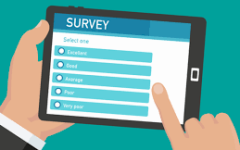 A graphic of a person taking a survey.